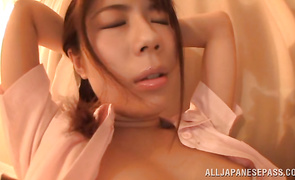 Pretty maid Riona Kizaki gets a full twat treatment