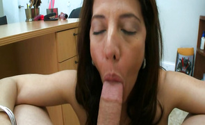 Marvelous latina brown-haired mature Christie L'amour is swallowing his dick whole and loving it