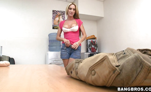 Sweet blonde Gianna Foxxx did her superlatively good to satisfy mate with her very soft lips