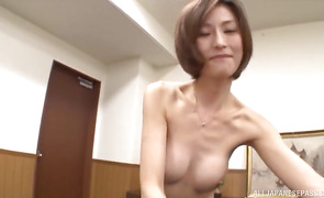 Cute mature hottie Akari Asahina's hawt body twitches as she is impaled on pipe