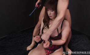 Tasty mature Reiko Shimura takes a joy ride on her male's hard wang