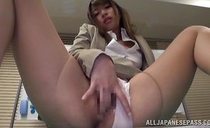 Chic cougar Ayu Sakurai with big tits is having casual sex in front of the camera