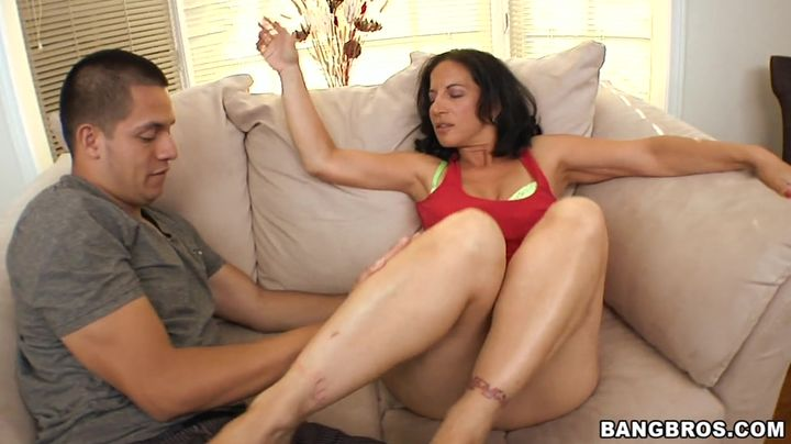 Glamor mature brown-haired Melissa Monet is fucking her male while her mom is out of city