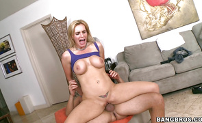 Salacious mature blond Tanya Tate angel is happy to play with impressive weenie