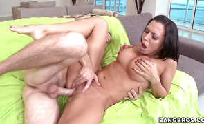 Perverted stranger has his way with divine big boobed brown-haired Rachel Starr