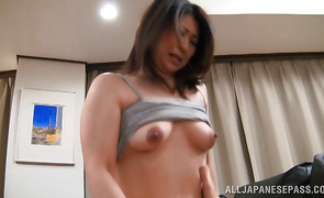 Engaging mature Yuna Shiina impales her tight pussy on a long throbbing one-eyed monster