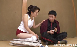 Lusty mature Eiko Katou with big tits and pussy tester decided to make a porn video just for enjoyment