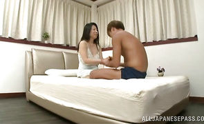 Charming big titted Rumiko Yanagi came home from work and needed a good fuck as soon as possible