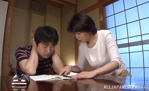Pleasing mature minx Chiaki Takeshita got her vagina stuffed while her husband was out of city