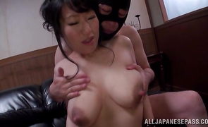 Enchanting bosomed bitch Maiko Katou is getting fucked from the back instead of doing her job