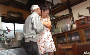 Remarkable older Ruri Hayami is gently engulfing fucker's chopper while getting ready to ride it like a pro