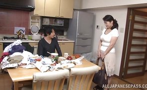 Aroused girlie Yuuko Kuremachi with firm tits puts a jock in her mouth and sucks it