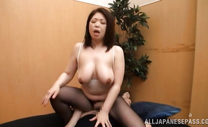 Sexy bosomed mature maiden Natsuko Kayama rubs her twat in leather boots and lingerie