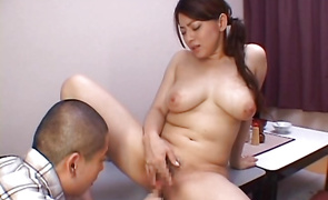 Luscious bosomed Reiko Yamaguchi got a chili dog up her tight bum and started moaning and screaming from joy