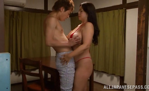 Hot busty sweetie Natsuko Kayama is getting her cave screwed from the back 'coz she likes it like that