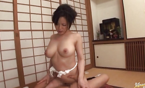 Savory babe Miki Sato with curvy tits is eagerly impaled on a hard penis