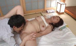 Amazing big boobed mature Ayano Murasaki is eager to be fucked already