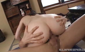 Pleased mature darling Hitomi Oohashi with big tits wants to ride man