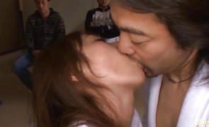 Wicked aged Rei Aoki kisses and bonks her boyfriend hard
