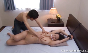 Lovely mature Miki Sato with huge tits receives a donga in her juicy and tight taco