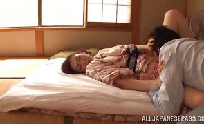 Tasty angel Emiko Koike gets her stud's lever hard sufficiently to fuck her