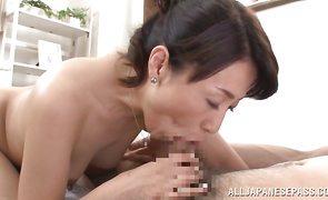 Foxy mature playgirl Mako Morishita gets mouth fucked by brutal lover