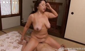 Passionate older perfection Natsuko Kayama with huge tits is deeply doggy styled