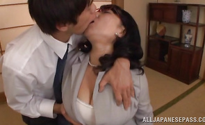 Lovely big boobed darling Emiko Ejima gets her perfect pussy plowed with passion