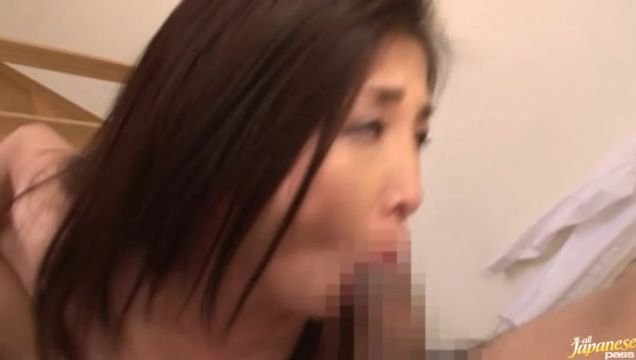 Sensational mature girlie Chisa Kirishima with large tits can't live without giving blowjobs all around