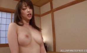 Captivating Akari Hoshino impales her cunt on a hard dick