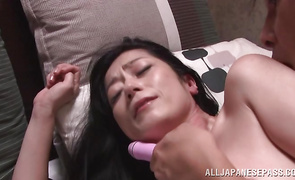 Insatiable Chisayo Nanami eagerly hops on her stranger's palpitating member