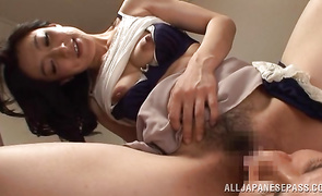 Appetizing mature Marina Matsumoto fucks just with his fucking-rubber on