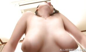 Mouthwatering babe Nachi Kurosawa with large tits is gently massaging her clit while stranger is fucking her like crazy