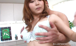 Appetizing bosomed Hikari Kasumi decided to make a few porn scenes and learn some ways of sex