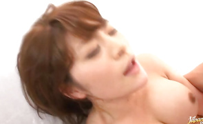 Stupendous busty mature Megu Fujiura and her lad have wild sex
