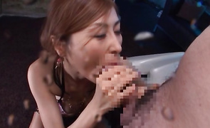 Lewd babe Akari Asahina discloses her round tits while being muff dived