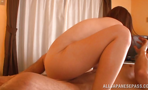 Lovable playgirl Hana Nonoka enjoy riding a huge and big sausage