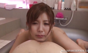 Pumped up boyfriend viciously plows staggering bosomed Saki Mizumi's shaved young twat