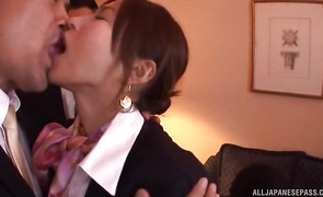 Beautiful mature lady Akari Asahina shows perky tits and perfect booty to a lover