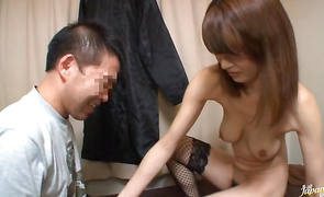 Delightful housewife Mai Hanano with firm tits is mad to fuck a perverted lover