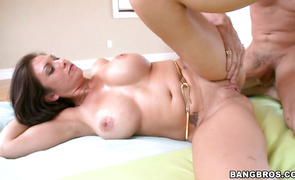 Mesmerizing mature brunette bimbo Karrlie Dawn fucked and she not quite gets creampied for rent money