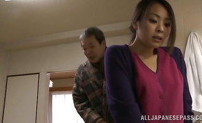 Depraved lover holds prodigious Mina Kanamori tight while roughly penetrating her