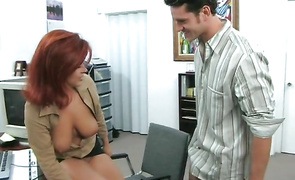 Naughty mature brown-haired girl Misty Mendez is kneeling in front of stranger and sucking his large schlong