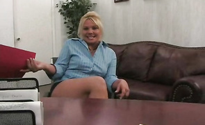 Racy blond Alexa impales her hairy twat on a long trouser snake