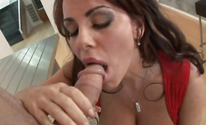 Worshipped dark-haired Victoria Valentino needs mate's large hard cock inside her