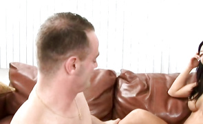 Inviting aged eastern brown-haired Tia Ling impales her skinny twat on a pulsating boner