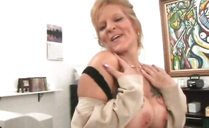 Wanton brown-haired maiden Leiluna has her perky titties squeezed while riding cock