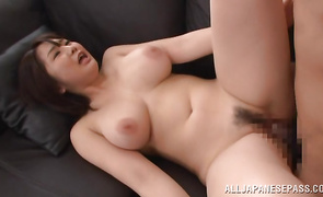 Tasty bosomed cougar Homare Momono is about to get stripped and have casual sex