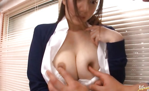 Busty mature babe Noa Kasumi is startling and enjoys riding a hard boner