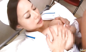 Insatiable aged bombshell Ruri Saijo with firm tits gets down and sucks her playmate's large donga